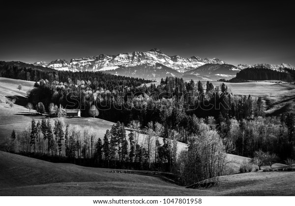 A great panorama in the Swiss alps with a beautiful view to the Säntis in Black & White