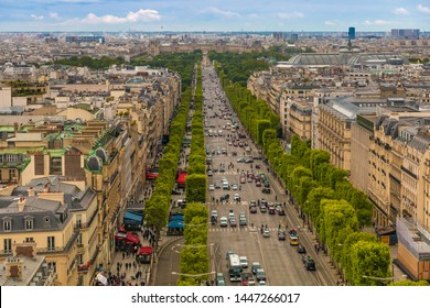 Great panoramic aerial view of the Avenue des Champs-Élysées, an avenue in the 8th arrondissement of Paris, towards the Place de la Concorde. It is one of the most recognisable avenues in the world.
