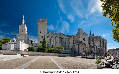 Great panoramic view of Palais des Papes and Notre dame des doms cathedral at Avignon - France