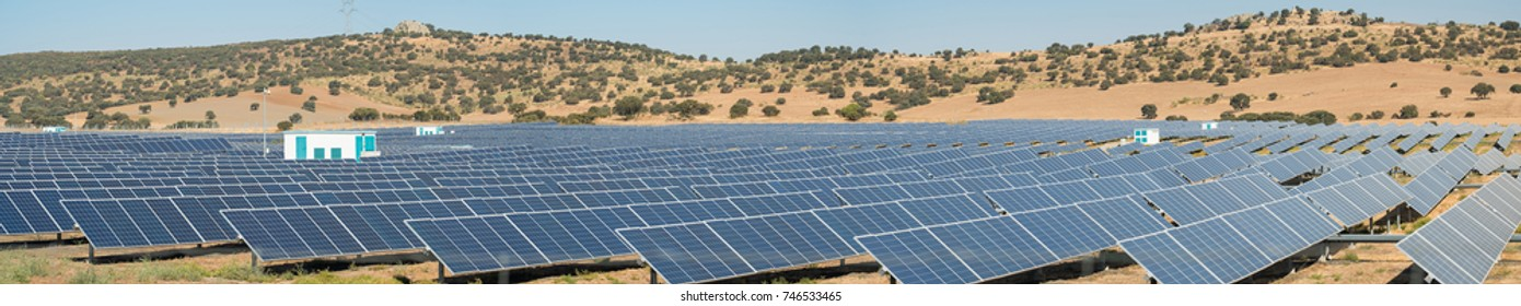 Great panoramic view of a Solar photovoltaic station
