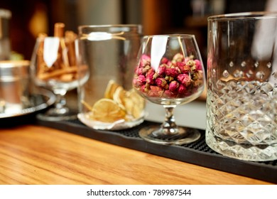 Great photo of dried fruits in a glass on the wooden table