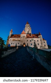 Great picture of Bouzov castle at night.