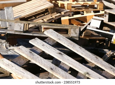 great pile of wooden pallets piled