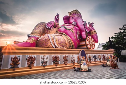 Great pink color elephant head god of Hindu is base on out door at Wat Saman Rattanaram in Chachoengsao, Thailand