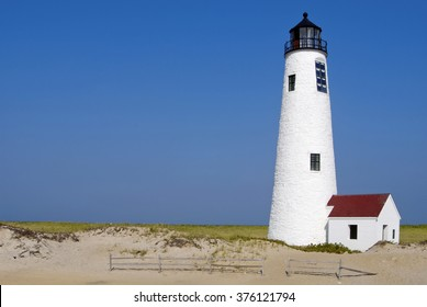 Great Point Lighthouse on Nantucket Island, Massachusetts. It is located on the sandy Coskata-Coatue Wildlife Refuge.