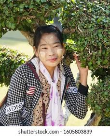 Great portrait of a Burmese girl, Bagan, Myanmar, 14.12.2019