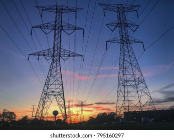 Great power line shot, silhouetted by sunset