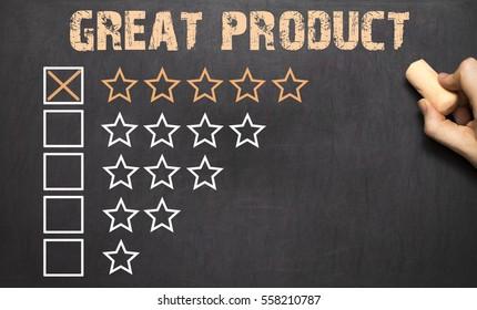 Great Product five golden stars on Chalkboard