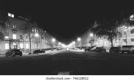 Great Pulteney Street in Bath by night, Somerset England Black and White Photography