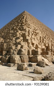 The great pyramid at Giza, Egypt was once covered with white plaster that is long gone revealing the architecture underneath.