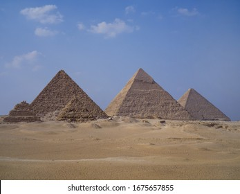 The great pyramid of Giza, Egypt, stands between 2 other pyramids