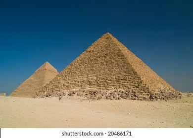 Great Pyramid of Khufu on right, and the Pyramid of Khafre on left, Giza Egypt.