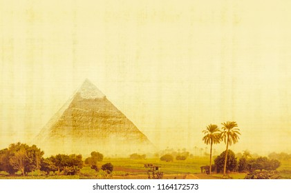Great pyramid on Giza plateau in Egypt. Egyptian landscape on an old papyrus texture background. Panorama of oasis with palm trees and copy space for your text about ancient civilization.