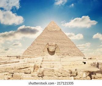 Great Pyramid of Pharaoh Khufu, located at Giza and the Sphinx. Egypt