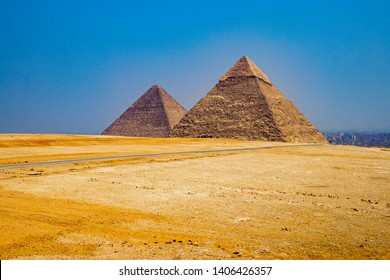 THE GREAT PYRAMIDS IN EGYPT - One of the Seven Wonders of the World, the Great Pyramid of Giza, and Giza Pyramid Complex. Famous world landmark, ancient history and civilization, just outside Cairo