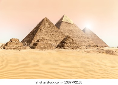The Great Pyramids of Giza in the desert sands, Egypt
