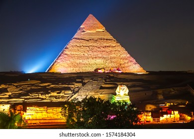 The great pyramids of Giza, Egypt at night light show