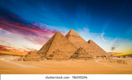 Great Pyramids of Giza, Egypt, at sunset