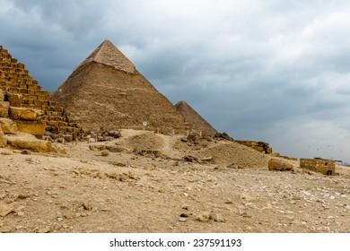 Great Pyramids at the Giza Necropolis, Giza Plateau, Egypt. UNESCO World Heritage