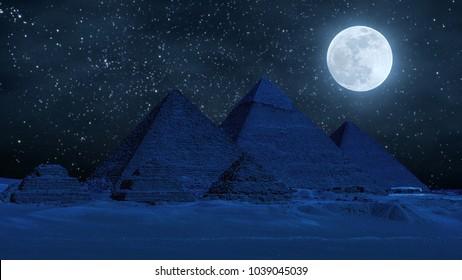 Grandes pyramides dans la vallée de Gizeh pendant la super lune, au Caire, en Egypte