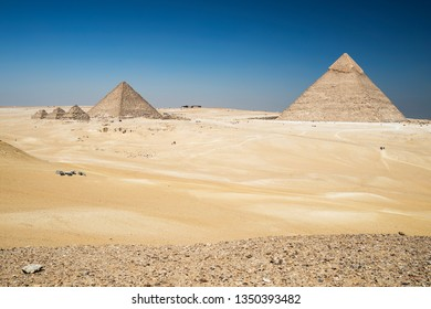 The great pyramids of Khafre and Mykerinos at The Giza Plateau, near Cairo, Egypt