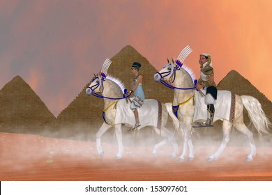 Great Pyramids and Nobility - Arabian horses carry the Pharaoh and queen of Egypt past the Great Pyramids.