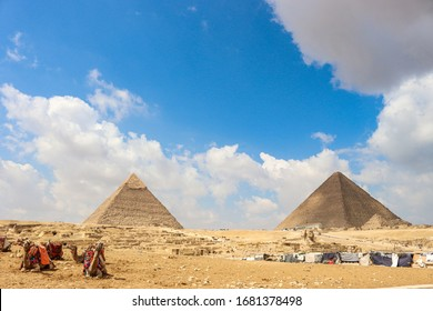 The great pyramids and Sphinx at Giza, Egypt, 25 February 2020