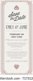 Great Quality Style Invitation in Art Deco or Nouveau Epoch 1920's Gangster Era Style Raster