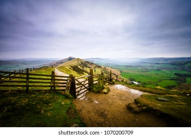 The Great Ridge at Mam Tor mountain in Peak District, England
