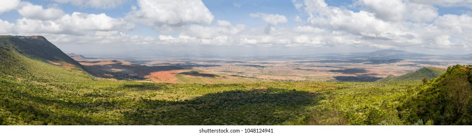 Great Rift Valley (East African Rift) panoramic scenic view, landscape of continuous geographic trench, October 2017 - Kenya, Africa