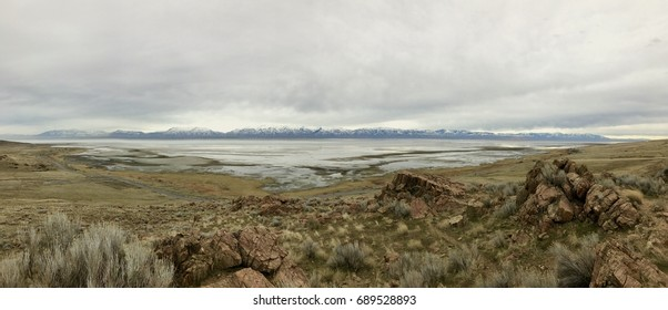 The Great Salt Lake from Antelope Island in early Spring from a wide angle view with the shoreline