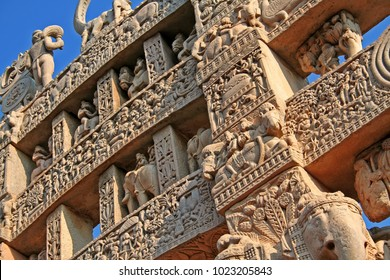The Great Sanchi Stupa, Buddhist Architecture at sanchi, Madhya Pradesh, India