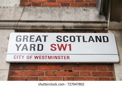 Great Scotland Yard street, near the headquarters of the Metropolitan Police Service of London