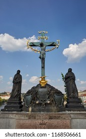 The great sculpture of the crucifixion of Jesus Christ in Prague, Czech Republic.