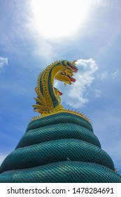 The Great Serpent  Naga  Sculpture Watveerachote , MoengChachoengsao, Thailand  nagas are sacred beings associated with Buddhists' beliefs and ways of life.