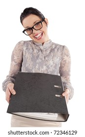 great smiling woman office worker with showing  a gray document folder