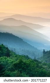 Great Smoky Mountain National Park Oconaluftee River Valley Overlook along Newfound Gap Road