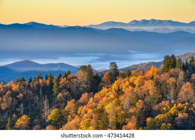 Great Smoky Mountains, autumn, scenic sunrise