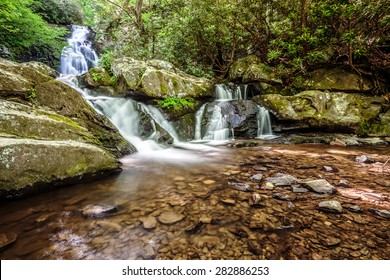 Great Smoky Mountains National Park Scenic Waterfall - Spruce Flats Falls - Tremont - vacation getaway destination - Gatlinburg Pigeon Forge TN