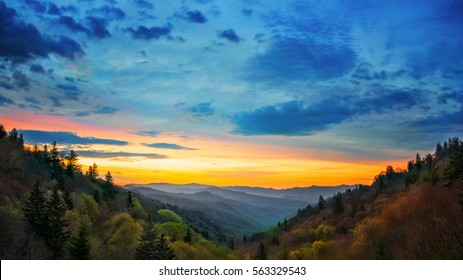 Great Smoky Mountains National Park Sunrise Scene Gatlinburg TN Oconaluftee Valley