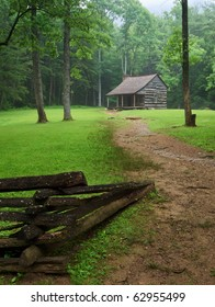 Great smoky mountains national park, old cabin in cades cove in spring