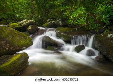 Great Smoky Mountains National Park TN Roaring Fork Nature Waterfall Scenic Landscape Gatlinburg Tennessee outdoors vacation destination in the southern Appalachian Mountains