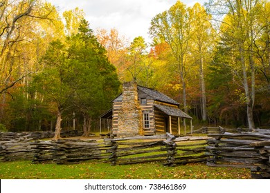 Great Smoky Mountains National Park, Tennessee - 10/21/2008: a restored historic log cabin with a split rail fence.