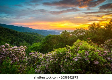 Great Smoky Mountains Spring Sunset North Carolina