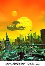 a great spaceship flies over the futuristic city in an alien planet with two moons, 3d illustration