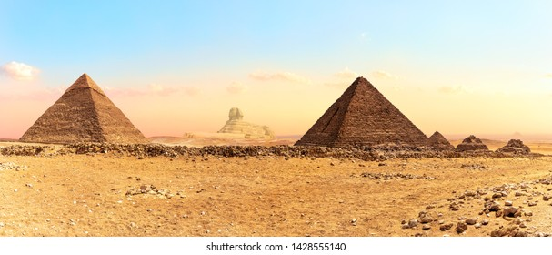 The Great Sphinx between the Pyramids, panorama shot, Giza, Egypt