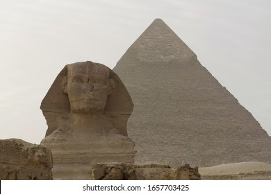 Great Sphinx on Giza plateau and pyramid of Khafre in Egypt