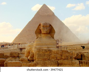 The Great Sphinx and the Pyramid of Khafre, Giza, Egypt
