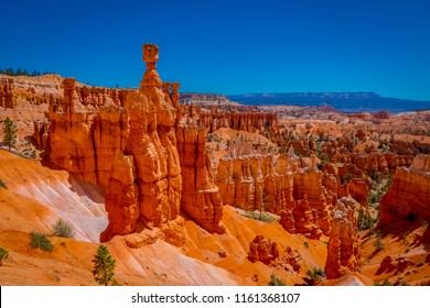 Great spires carved away by erosion in Bryce Canyon National Park, Utah, USA. The largest spire is called Thor's Hammer.