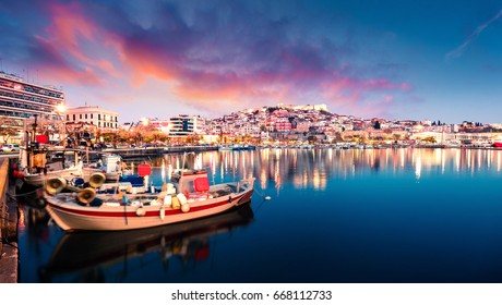 Great spring seascape on Aegean Sea. Colorful evening panorama of Kavala city, the principal seaport of eastern Macedonia and the capital of Kavala regional unit. Greece, Europe.